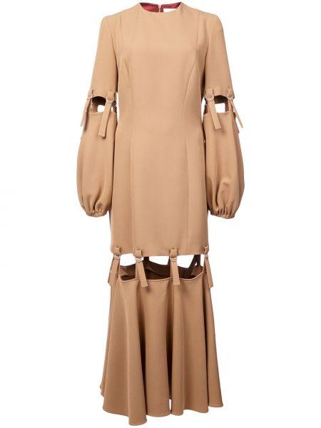 Коричневое платье на молнии с вырезом круглое Sara Battaglia
