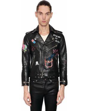Czarna kurtka skórzana z paskiem Garçons Infideles