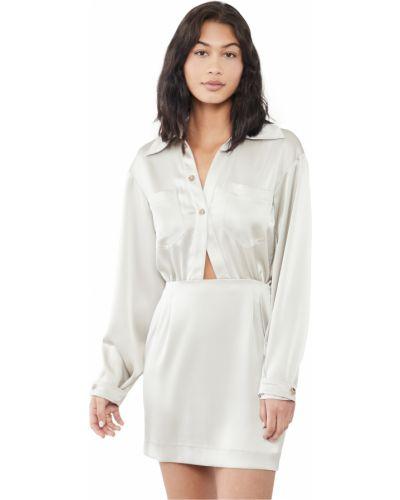 Серебряное платье макси с длинными рукавами с вырезом Nanushka