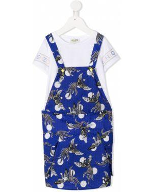 Niebieska sukienka mini krótki rękaw bawełniana Kenzo Kids