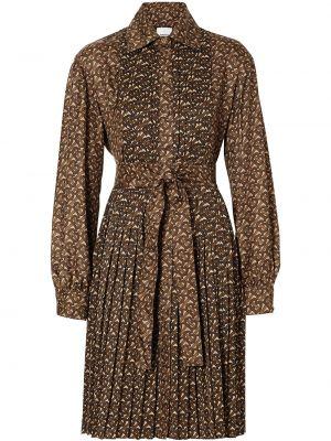 Коричневое шелковое платье макси с воротником Burberry