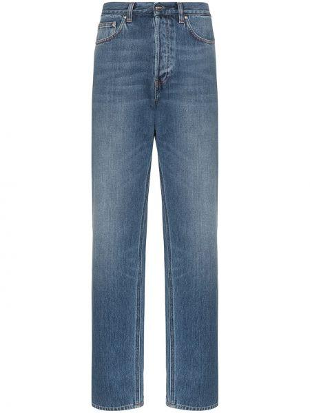 Niebieskie jeansy z wysokim stanem bawełniane Toteme