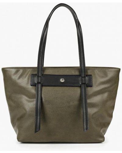 Кожаный сумка с ручками зеленый Fabretti