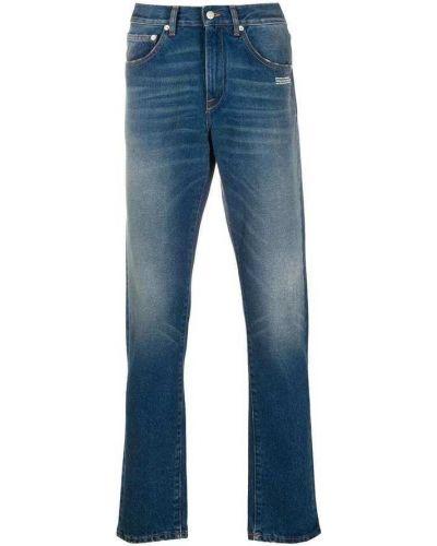 Niebieskie jeansy bawełniane z printem Off-white