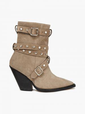 Ankle boots zamszowe klamry kaskadowe Iro