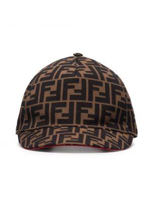 Бейсбольная хлопковая коричневая кепка Fendi