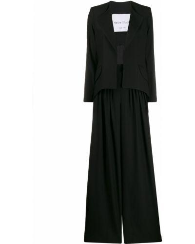 Z rękawami czarny spodni garnitur z klapami Hebe Studio