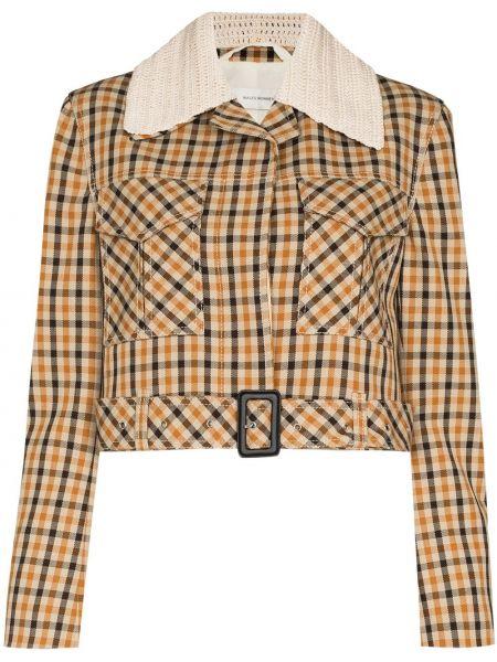 Коричневый укороченный пиджак Wales Bonner