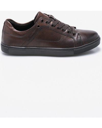 Кожаные туфли на шнуровке коричневый Wojas