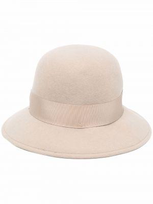 Beżowa czapka z haftem Borsalino
