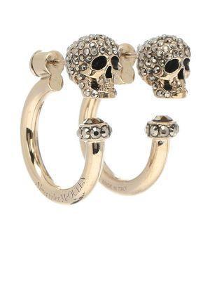 Серьги-гвоздики золотые с черепами Alexander Mcqueen