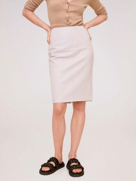 Кожаная юбка розовая весенняя Mango