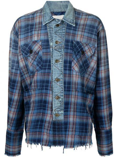 Niebieska koszula jeansowa w kratę bawełniana Greg Lauren