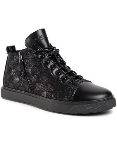 Klasyczne czarne sneakersy skorzane Lanetti