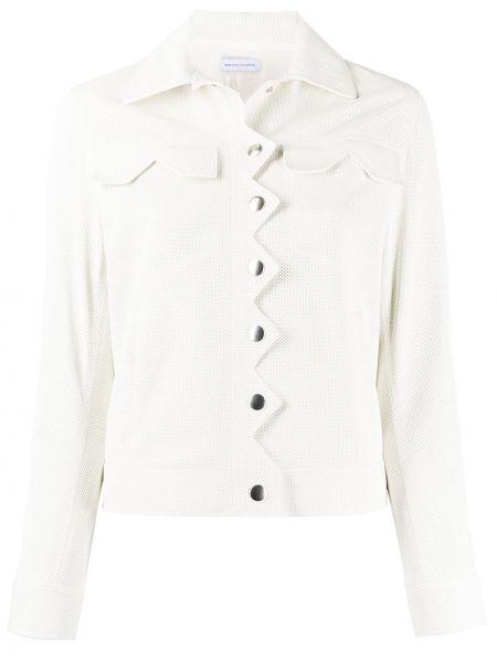 Biała długa kurtka skórzana z długimi rękawami Maison Ullens