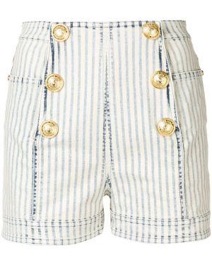 Синие джинсовые шорты на пуговицах со стразами милитари Balmain
