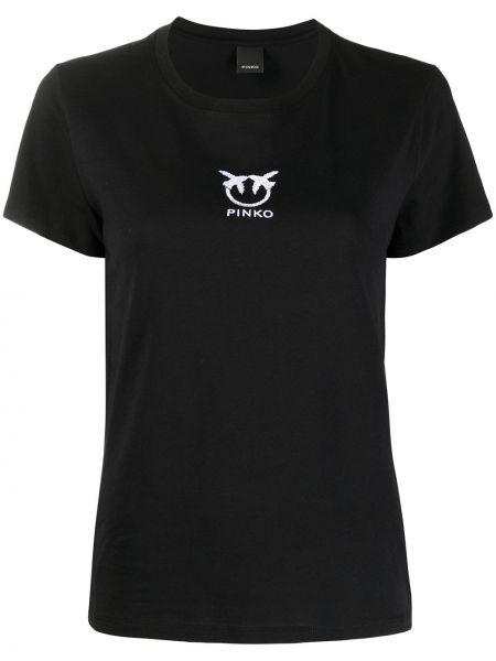 С рукавами черная футболка с вырезом Pinko