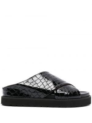 Czarne sandały skorzane peep toe Ganni