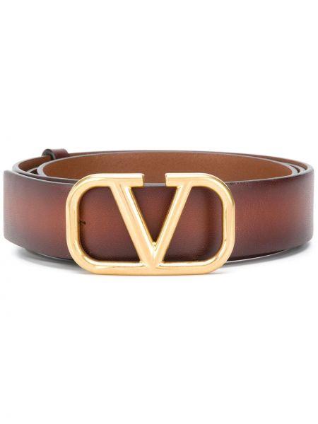 Коричневый кожаный ремень с перфорацией Valentino