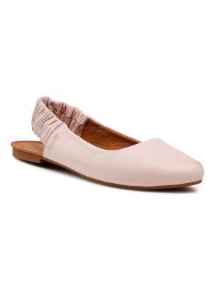 Różowe sandały skorzane na co dzień Badura