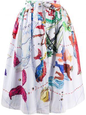 Плиссированная хлопковая белая юбка миди с поясом Stella Jean