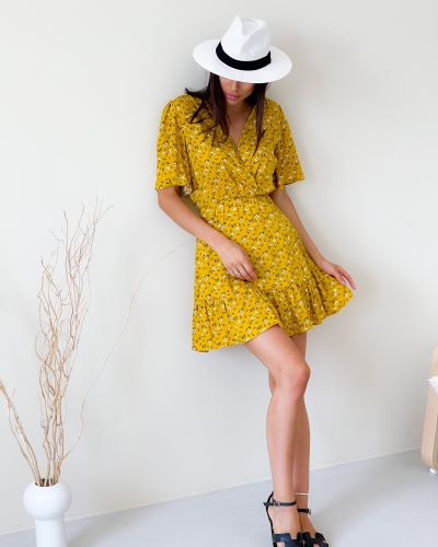 Платье в цветочный принт - желтое Lilove