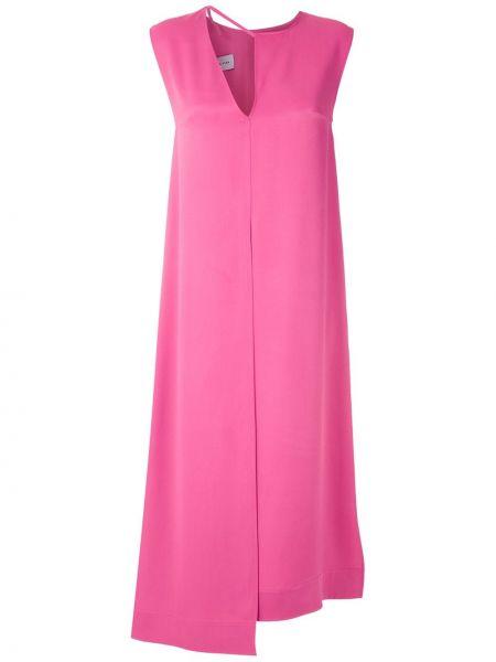 Расклешенное розовое платье миди со вставками с разрезами по бокам Gloria Coelho