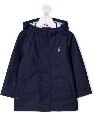 Niebieski płaszcz przeciwdeszczowy z kapturem bawełniany Ralph Lauren Kids