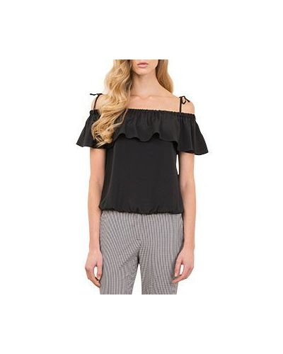 Черная блузка на резинке Luisa Spagnoli
