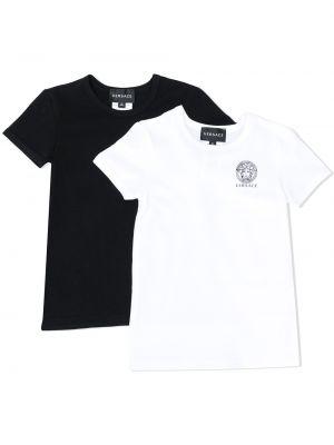Czarny t-shirt bawełniany krótki rękaw Young Versace