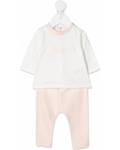 Хлопковый костюмный розовый спортивный костюм с вышивкой Lanvin Enfant