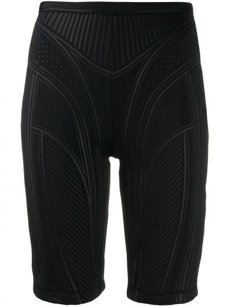 Однобортные облегающие черные шорты Mugler