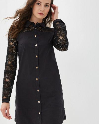 Платье платье-рубашка черное Panda