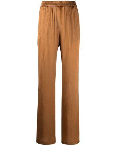 Шелковые коричневые брюки с накладными карманами Nude