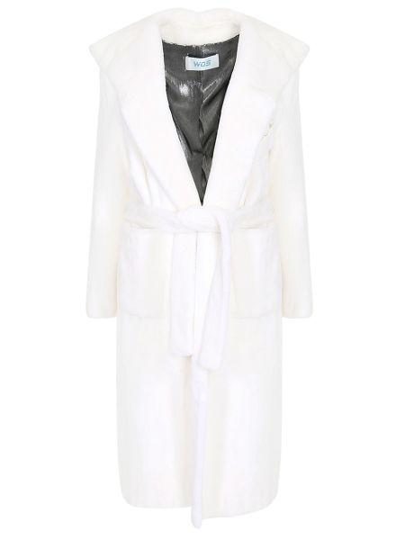 Шелковый белый приталенный халат с капюшоном Walk Of Shame