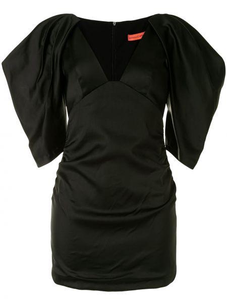 Черное нейлоновое платье мини с V-образным вырезом на молнии Manning Cartell