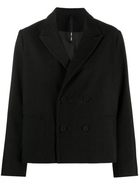 Шерстяной черный удлиненный пиджак двубортный Sara Lanzi