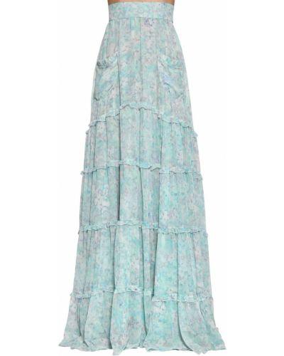 Синяя юбка макси с карманами в цветочный принт Luisa Beccaria