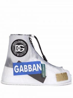 Botki skórzane - białe Dolce And Gabbana