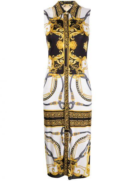 Классическое платье на пуговицах с воротником без рукавов Versace