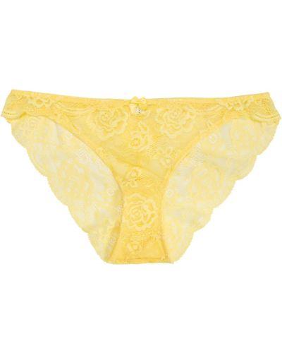 Желтые ажурные хлопковые трусы Bonprix