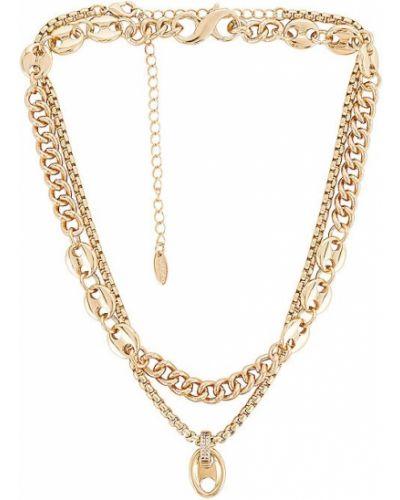 Złoty naszyjnik łańcuch z cyrkoniami miejski Ettika