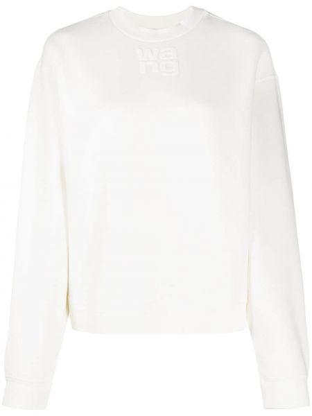 Хлопковый белый свитер свободного кроя с круглым вырезом T By Alexander Wang