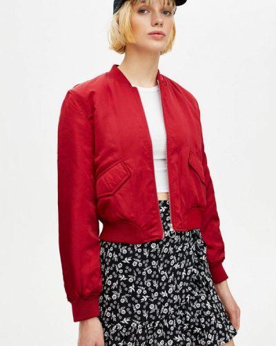 Утепленная куртка осенняя бордовый Pull&bear