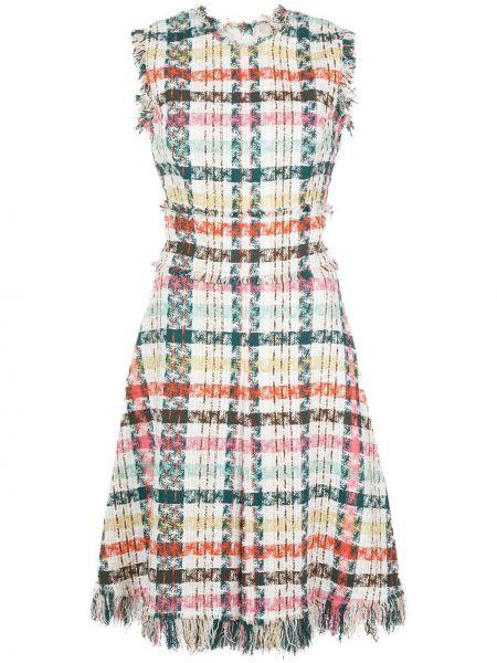 Платье в рубчик в клетку Oscar De La Renta