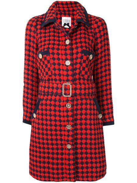 С рукавами красное шерстяное длинное пальто с поясом Edward Achour Paris
