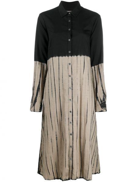 Черное классическое платье миди на пуговицах с воротником Suzusan