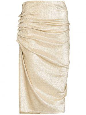 С завышенной талией желтая юбка миди с оборками Paco Rabanne