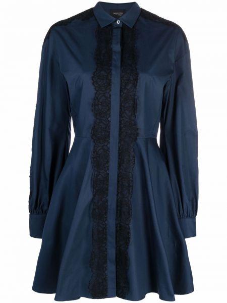 Платье макси с длинными рукавами - синее Giambattista Valli