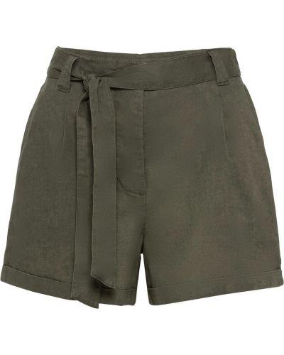 Зеленые льняные брюки с карманами Bonprix